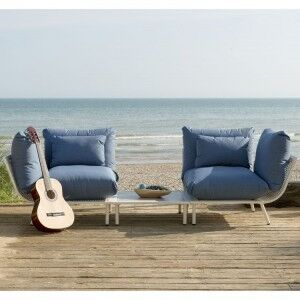 Alexander Rose Beach Garden Shell 2 Seater Split Sofa & Side Table