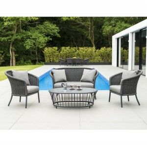 Alexander Rose Cordial Grey Curved 2 Seater Sofa Lounge Set with Pebble Coffee Table