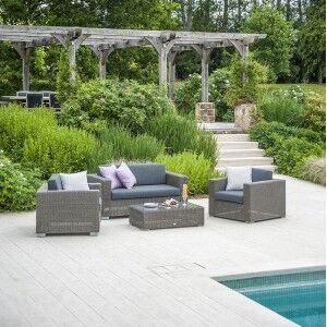 Alexander Rose Monte Carlo 3 Seat Rattan Lounge Set with Coffee Table