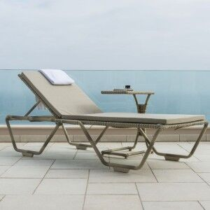 Alexander Rose Ocean Pearl Garden Stacking Sunbed & Side Table Set