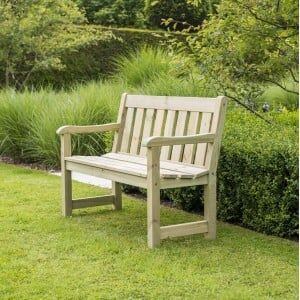 Alexander Rose Garden Furniture Solid Pine Marlow 4ft Slatted Back Bench