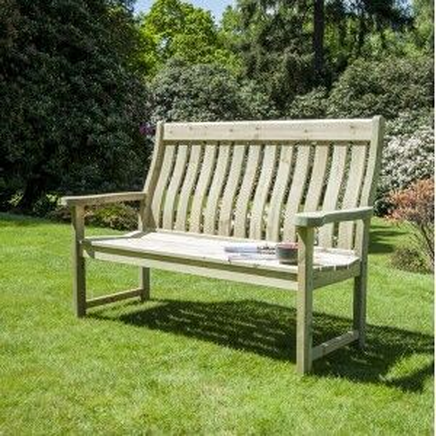 Alexander Rose Garden Furniture Solid Pine Farmers 5ft High Back Bench