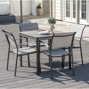 Alexander Rose Portofino Garden 0.8m Dining Table & 4 Stacking Chair