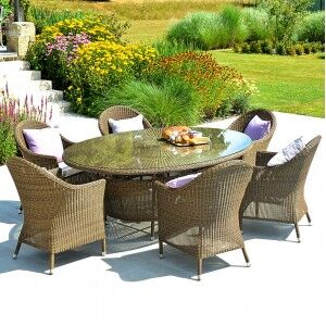 Alexander Rose San Marino 6 Seat Curved Chair Oval Rattan Dining Set