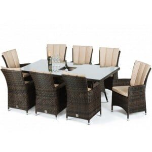Maze Rattan Garden Furniture LA Brown 8 Seat Rectangular Ice Bucket Dining Set