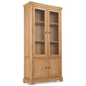 Vezelay Natural Oak Furniture Glass Display Cabinet