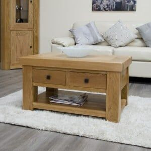 Bordeaux Solid Oak Furniture Coffee Table With Drawers