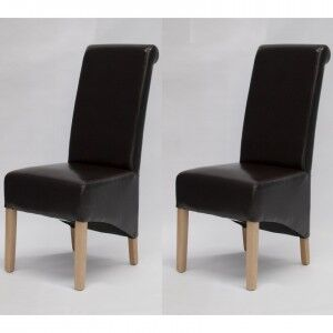 Trend Solid Oak Furniture Richmond Brown Bonded Leather Dining Chair Pair