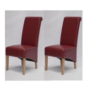 Trend Solid Oak Furniture Richmond Red Bonded Leather Dining Chair Pair