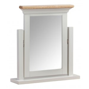 Cotswold Solid Oak Cream Painted Furniture Vanity Dressing Table Mirror