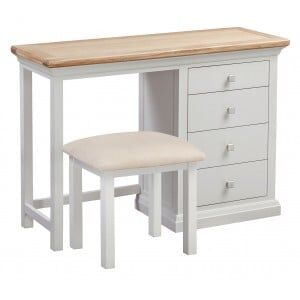 Cotswold Solid Oak Cream Painted Furniture Dressing Table & Stool Set