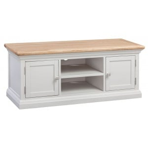 Cotswold Solid Oak Cream Painted Furniture Large 2 Door TV Cabinet