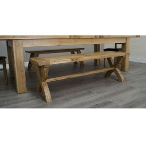 Deluxe Solid Oak Furniture X Leg Bench