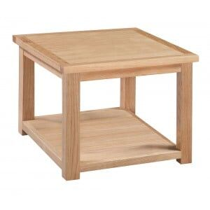 Moderna Solid Oak Furniture Square Lamp Table with Low Shelf