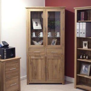 Opus Solid Oak Furniture Glass 4 Door Library Unit