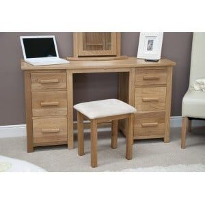 Opus Solid Oak Twin Pedestal Dressing Table and Stool