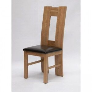 Trend Solid Oak Furniture High Back Bicast Leather Dining Chair Pair
