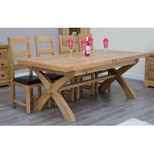 Deluxe Solid Oak Furniture Cross Leg Extending 8-12 Seater Table