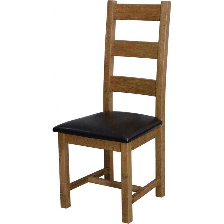 Clearance Deluxe Oak Furniture Ladder Back Dining Chair with PU Seat