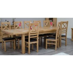 Deluxe Solid Oak Furniture Large Extending 6-10 Seater Table