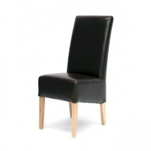 Trend Solid Oak Furniture Oslo Brown Bycast Leather Dining Chair Pair