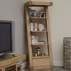 Z Solid Oak Furniture Narrow Bookcase