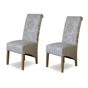 Floral Solid Oak Furniture Cream Fabric Rollback Dining Chair Pair