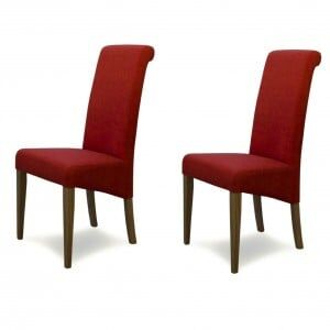 Italia Solid Oak Furniture Chilli Red Fabric Dining Chair Pair