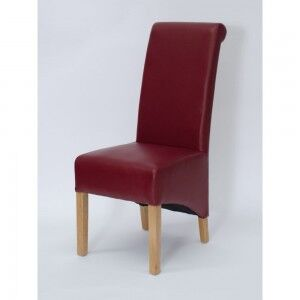Richmond Solid Oak Furniture Matt Red Leather Dining Chair Pair