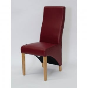 Wave Solid Oak Furniture Matt Red Leather Dining Chair Pair