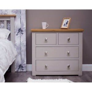 Diamond Solid Oak Grey Painted Furniture 2 over 2 Chest of Drawers