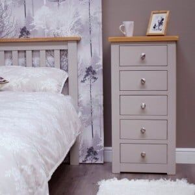Diamond Solid Oak Grey Painted Furniture 5 Drawer Tallboy