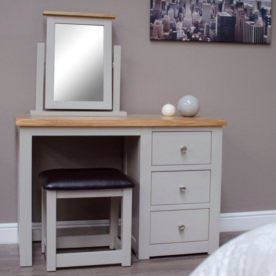 Diamond Solid Oak Grey Painted Furniture Dressing Table & Stool Set