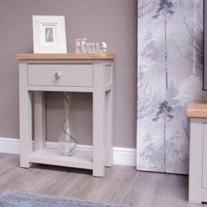 Diamond Solid Oak Grey Painted Furniture Small Hall Table With Shelf