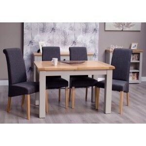 Diamond Solid Oak Grey Painted Furniture Small Extending Dining Table