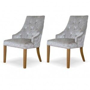 Deluxe Solid Oak Furniture Crushed Silver Velvet Dining Chair (Pair)