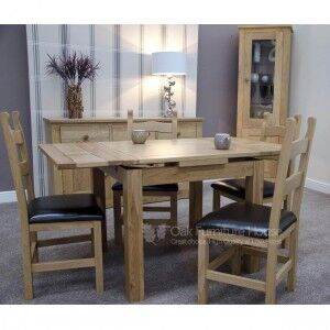 Opus Solid Oak Furniture 150cm Extending Dining Room Table