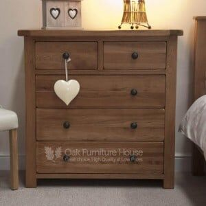 Rustic Solid Oak Furniture 2 over 3 Drawer Chest
