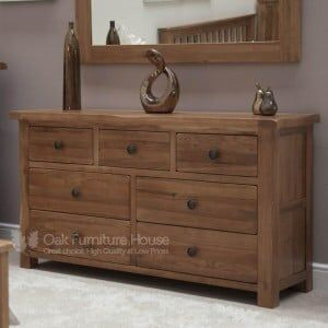 Rustic Solid Oak Furniture 7 Drawer Multi Chest