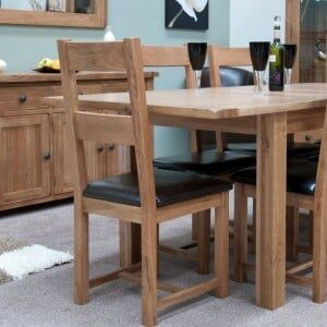 Rustic Solid Oak Furniture Leather Dining Chair Pair