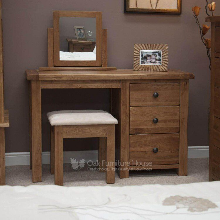 Rustic Solid Oak Furniture Dressing Table and Stool