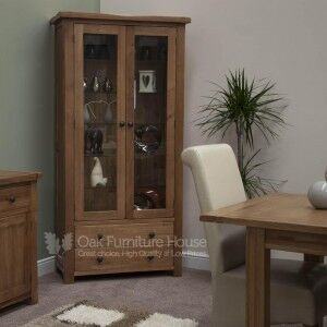Rustic Solid Oak Furniture Glass Display Unit