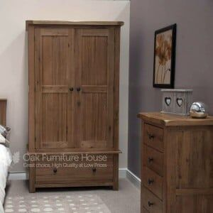 Rustic Solid Oak Furniture Gents Wardrobe