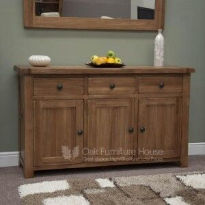 Rustic Solid Oak Furniture Large Sideboard