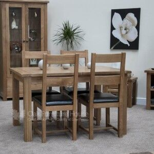 Rustic Solid Oak Furniture Twin Leaf Extending Dining Table & 4 Chairs