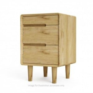 Scandic Solid Oak Furniture 3 Drawer Bedside