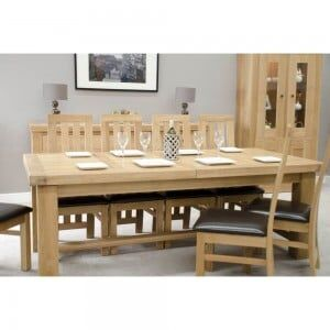 Bordeaux Solid Oak Furniture 14 Seater Grand Extending Dining Table