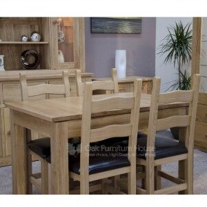 Opus Solid Oak Furniture Plain Top Extending Dining Table Single Leaf