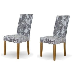 Deluxe Solid Oak Furniture Stockholm Deep Crushed Silver Velvet Dining Chair (Pair)