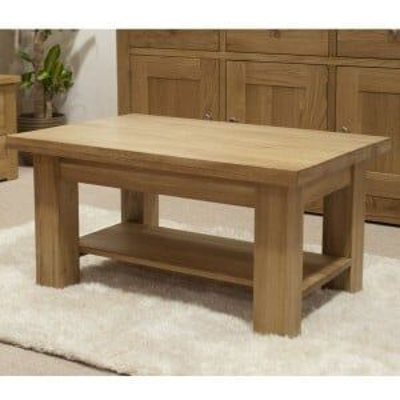 Torino Solid Oak Furniture 3x2 Coffee Table With Shelf